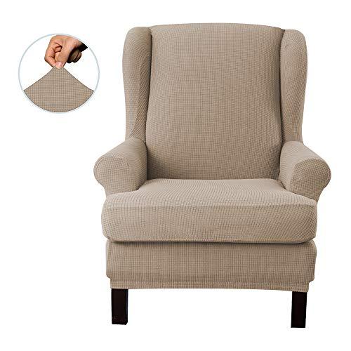 E EBETA Jacquard Sesselbezug, Sessel-Überwürfe Ohrensessel Überzug Bezug Sesselhusse Elastisch Stretch Husse für Ohrensessel (Sand)