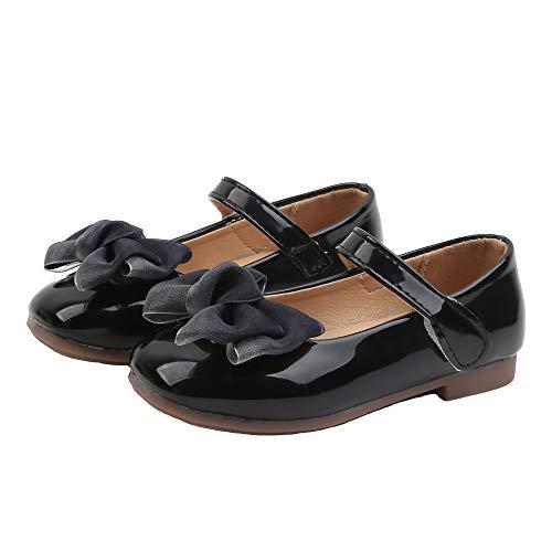Komfyea Girl's Princess Shoes Toddler/Little Kid Ballet Mary Jane Flat Shoes Black 4.5