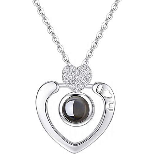 QueenDer Collana Clavicle Love Memory Zircon Projection Corona a forma di cuore Camera Four Clover Collana per donne Ragazze (Collana cuore 3)
