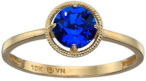 10k Gold Swarovski Crystal September Birthstone Ring, Size 6