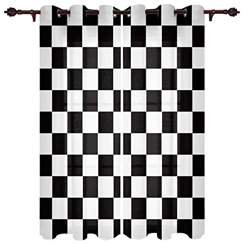"""Window Curtains with Grommets Kitchen Drapes, Geometric Plaid Simple Black and White Checkered Flag Pattern, 2 Panels Window Treatment Drapes for Living Room/Bathroom/Office 80"""" W x 63"""" L"""