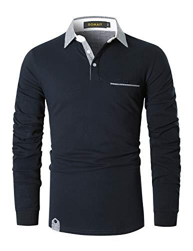 GOMAIY Poloshirt Herren Klassischer Karierter Spleiß Langarm Slim Fit Tennis Polo Shirts Baumwolle Polohemd,Blau,XL