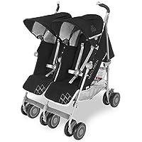 Maclaren Twin Techno Silla de paseo doble - ligera, para recién nacidos hasta los 50kg, encaja a través de la mayoría de las puertas, Capota extensible con UPF 50+