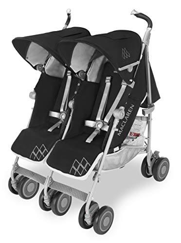 Maclaren Twin Techno Silla de paseo doble, ligera para recién nacidos hasta los 50 kg, encaja a través de la mayoría de las puertas, Capota extensible con UPF 50+