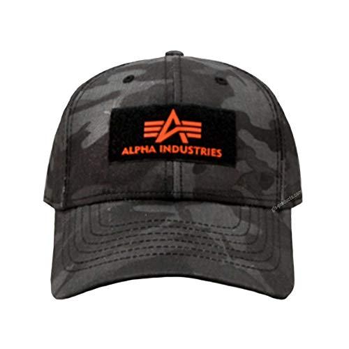 Alpha Industries VLC II Cap Black Streetwear 6-teiliges Basecap Baumwolle verstellbar, Farbe:Black camo
