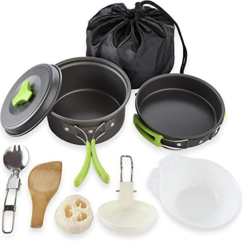 10 Pieces Portable Camping Cookware Mess Kit, Folding Cookset Lightweight, Compact, Durable Pot Pan Bowls with Nylon Bag for Hiking Backpacking