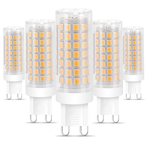 G9 LED Warmweiss, 5W G9 LED Lampe G9 Birne Ersetzt 50W Halogenlampe, 3000K Warmweiß 500Lumen, Kein Flackern, G9 Leuchtmittel, 360° Abstrahwinkel Spot, AC 220-240V,Nicht Dimmbar - 5er Pack