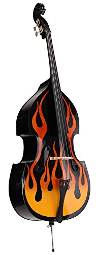 Classic Cantabile RDB-59 Flames Kontrabass 3/4 (Upright Bass, Rockabilly Kontrabass, Flammendesign)