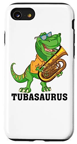 iPhone SE (2020) / 7 / 8 Cool Dinosaur Gift Funny Tubasaurus T-rex Playing Tuba Music Case