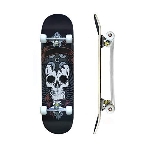 Skateboard Komplettboard 79x20cm Holzboard für Anfänger mit ABEC-7 Kugellager 31 Zoll 7-lagigem kanadischem Ahornholz und 85A Rollen für Kinder, Jugendliche und Erwachsene(Cool Skull)