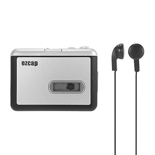 Docooler EZCAP 231 La Cinta de Cassette-a-MP3 Convertidor Guardar en Disco Flash USB Partición de Auto Registrador Independiente w/Auriculares Negro con Gris