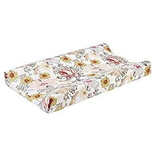 """Baby Floral Diaper Changing Pad Cover Cradle Mattress Sheets, Infant Stretchy Fabric Changing Table Cover Changing Mat Cover Baby Nursery Diaper Changing Pad Sheets 32""""X 16"""""""