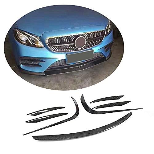 YMSHD Parachoques Delantero para Mercedes Benz Clase E W213 E200 E250 E300 E400 Sport E43 Amg Sedan 2017-2019 Protector de Divisor de alerón de Barbilla de Fibra de Carbono (alerón Delantero