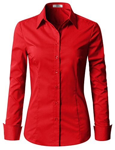 EZEN Womens Athletic fit Button Down Shirts RED Medium