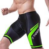 X-TIGER Men's Cycling Shorts with Back Pocket,5D Gel Padded Bike Shorts for Men,Mountain Road Biking Riding Half Pants Tights Green