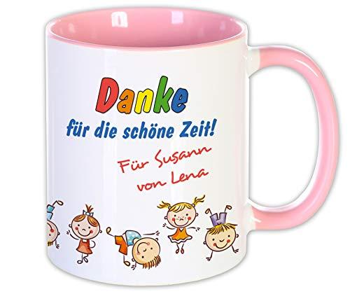 Abschieds Geschenk Kita Schule Trainer Lehrer Tasse mit Namen, Erzieherin Erzieher Kinder Danke Kindergarten Emaille (Tasse Rosa)