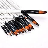 12pcs cepillo del sistema de pintura la pintura del artista del sistema de cepillos de acrílico Acuarela Pintura del arte del arte for Pintura Pintura Examen Ejercicios (Color : Oblate)