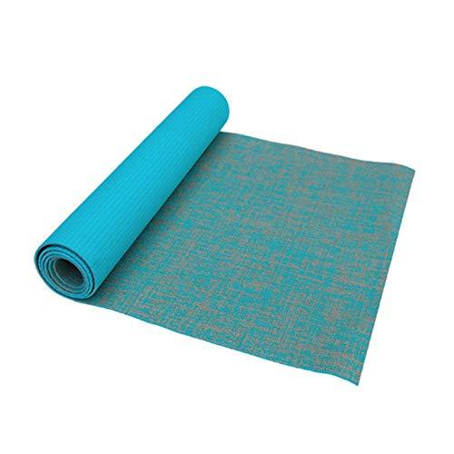 Yoga mat LKU Antislip jute yogamat naturel yogamat dikte 5mm linnen materiaal yogamat sportmat, cyaan