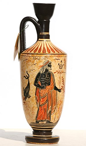 Vaso in ceramica pentola nave Lekythos greco dea Athena Dio Poseidone 10.2& # X384; & # X384;