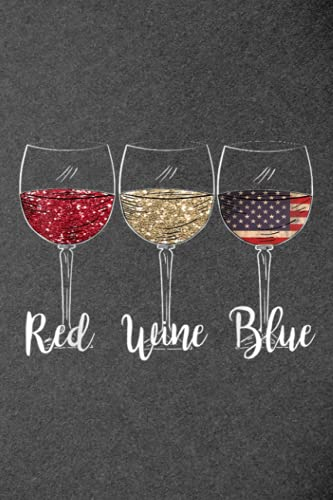 Family Refrigerator Inventory List: Red Wine Blue Wine Glasses USA Flag 4th of July Patriotic