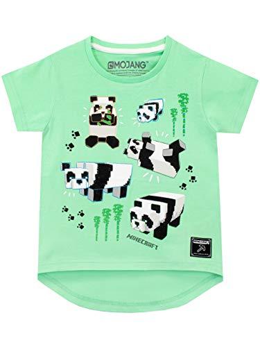 Minecraft Camiseta de Manga Corta para niñas Panda Verde 6-7 Años
