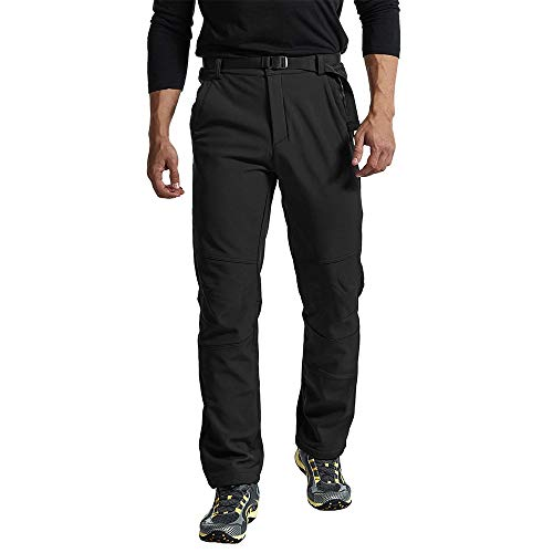 IsFashion Mens Snow Sport Cargo Pants, Fleece Lined Hiking Pants Water Repellent Softshell Ski Pants with Pockets