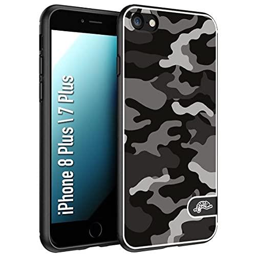 CUSTOMIZZA - Custodia cover nera morbida in tpu compatibile per iPhone 7 Plus - 8 pluscamouflage mimetico militare nero black