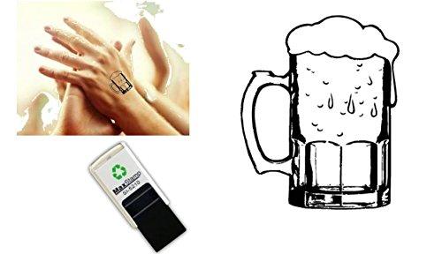 Handstempel mit Bierglas-Motiv, selbstfärbender Stempel, 18 mm, geeignet für Partys, Bierfeste, Nachtclubs, mir sicherer Tinte auf Wasserbasis, leicht abwaschbar