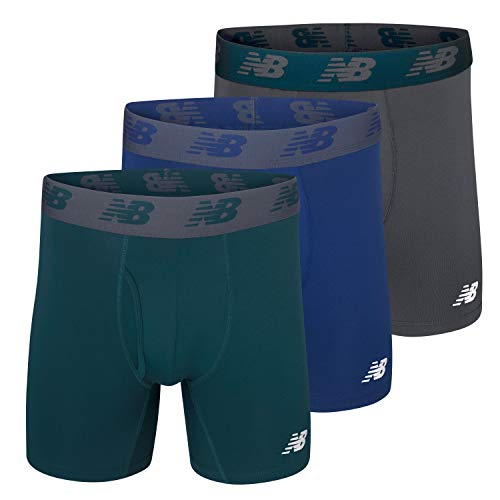 "New Balance Men's 6"" Boxer Brief 3-Pack, Blue/Deep Jade/Thunder, Medium(32-34"")"