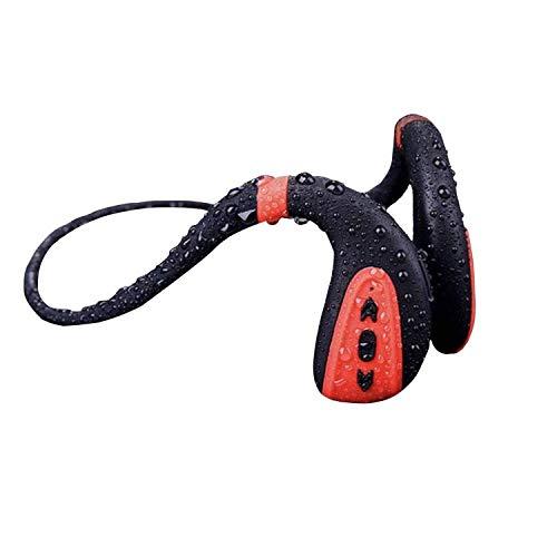 EULIQ - Cuffie Bluetooth a conduzione ossea per nuoto, lettori MP3 Bluetooth 5.0, cuffie wireless IPX8, impermeabili, con memoria 8G, lettore MP3 (nero rosso)