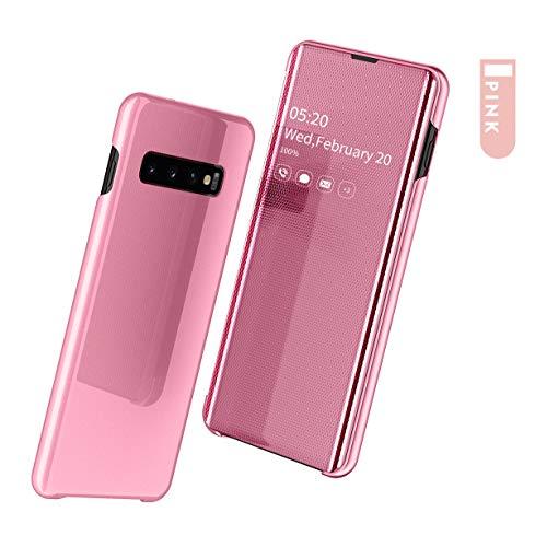 SevenPanda Huawei Mate 20 Pro Makeup Schutzhülle, Spiegel Smart Flip Cover Stand Funktion Beschichtung Ultra Slim Fit Praktische Schutzhülle für Hua Wei Mate 20 Pro - Rosa