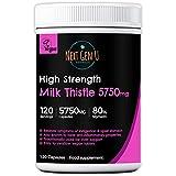 Milk Thistle 5750mg Capsule - 120 High Strength Vegan Capsules | Relieves Symptoms of Upset Stomach...