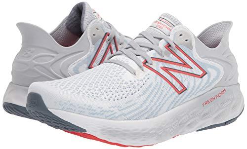New Balance Men's Fresh Foam 1080 V11 Running Shoe, White/Ghost Pepper, 7
