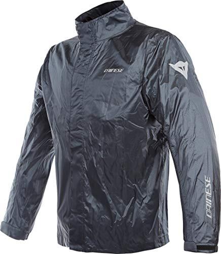 DAINESE Rain Jacket, Giacca impermeabile antipioggia Moto, ripiegabile, leggera, con inserti riflettenti, antracite
