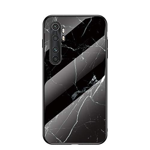 Funda para Xiaomi Mi Note 10 Lite Marmol Case Tapa Trasera de Cristal Templado con TPU Edge Carcasa para Xiaomi Mi Note 10 Lite (Blanco Negro)