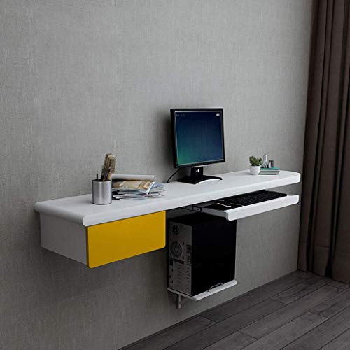 ZXYY aan de muur gemonteerde computer bureau dressoir tafel met lade muur plank drijvende plank Notebook bureau leren kantoor tafels boek tafel TV plank (kleur: grijs grootte: B) A-geel