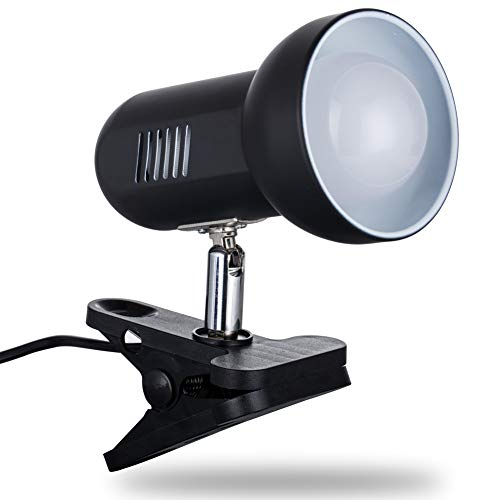 LEDクリップライト デスクランプ 電気スタンド 作業ライト 卓上ライト 高輝度 マルチアングル調整可能 滑り止めマット付き 約360度回転 省エネ PC作業・仕事・寝室・卓上・読書・勉強・オフィスなどに適用 LED電球付き (ブラック)