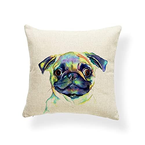 DQLREW Funda Cojine Funda Almohada Terrier Beagle cojín Pug Animal Pillow Case Cover Graffiti Home Outdoor houseware Pillow with Cover Square arpillera de Lujo Sofá Sala Decor hogar Navidad Regalo