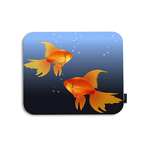 Beabes Mouse Pad Goldfish Underwater Bubble Cute Realistic Life Nature Painting Sea Orange Gaming Mouse Mat Non-Slip Rubber Base Thick Mousepad for Laptop Computer PC 9.5x7.9 Inch
