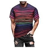 Camiseta Cuello Redondo para Hombre Camiseta De Manga Corta Estampada En 3D para Hombre Camisetas De Moda para Hombre Deportivo De Manga Corta para Hombre Raya Tops para Hombre