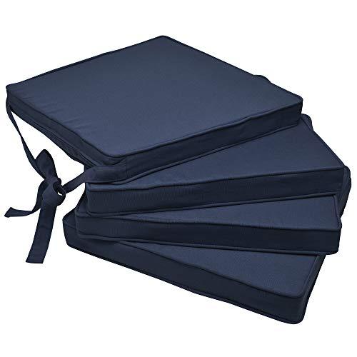 Beautissu Set de 4 Cojines para sillas Loft SK - Juego de Cojines cómodos para Asientos 45x40x5 cm Azul Oscuro - Cojines Elegantes y Modernos
