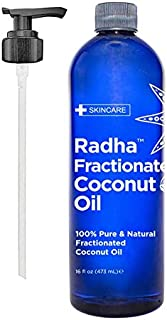 Radha Beauty Fractionated Coconut Oil - 100% Pure & Natural Carrier and Base Oil for Aromatherapy, Hair and...