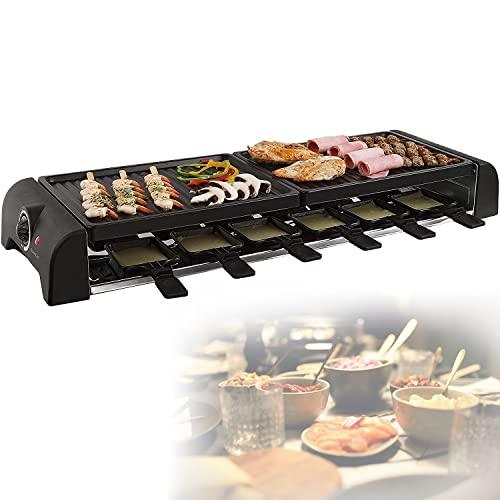 Großer Raclette Grill für bis zu 12 Personen - Grillplatte für Crepes und Raclette - Partygrill mit 12 Pfännchen - 1800 Watt Elektrogrill