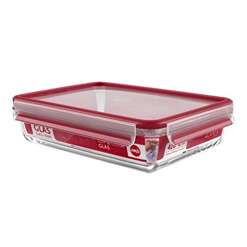 Emsa 513921 Frischhaltedose mit Deckel, Glas, Rechteckig, Volumen 2 Liter, Transparent/Rot, Clip & Close,27 x 20,5 x 6,8 cm