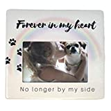 BANBERRY DESIGNS Dog Picture Frame Memorial – Photo Opening 4 X 6 Inch Plaque for The Loss of Pet Gifts Rainbow Bridge Themed – No Longer by My Side Forever in My Heart Quote