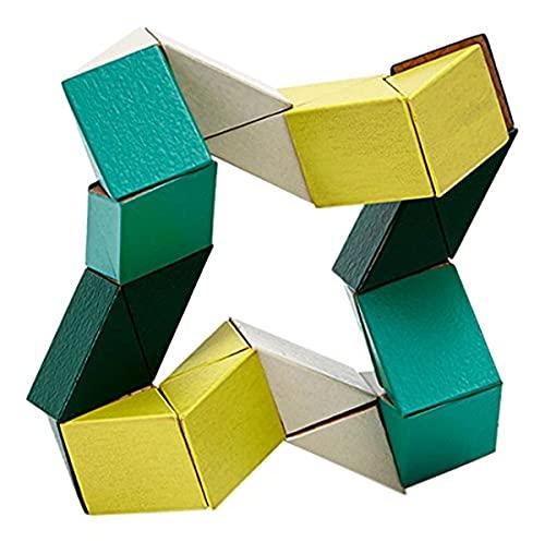 Areaware czsbsyg serpiente juguete bloque de madera Puzzle–amarillo/verde