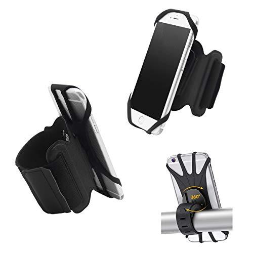 Porta cellulare braccio,Fascia da Braccio/porta cellulare bici 2 in 1.Rotazione a 360°Traspirante e facile da smontar Fascia Porta Cellulare .per Tutti Gli Smartphone 4.5-7.0 Pollici (Nero).
