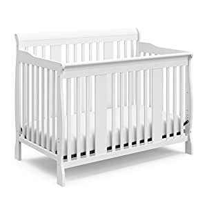Storkcraft Tuscany 4-in-1 Convertible Crib, White, Easily Converts to Toddler Bed, Day Bed or Full Bed, 3 Position Adjustable Height Mattress (Mattress Not Included)