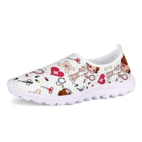 POLERO Zapatillas sin Cordones con Estampado de Enfermera para Mujer Zapatillas de Caminar Planas de Malla Transpirable Casual Zapatos de Trabajo livianos Senderismo Trotar, Blanco, Talla 39