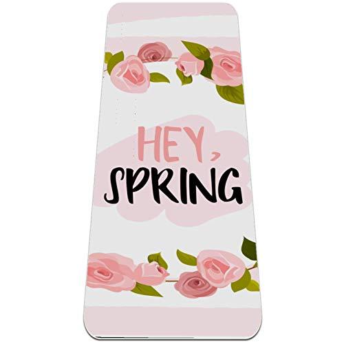 Esterilla de yoga con diseño de flores rosadas, respetuosa con el medio ambiente, antideslizante, para yoga, pilates y ejercicios de piso de 182 x 81 cm